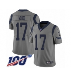 Men's Los Angeles Rams #17 Robert Woods Limited Gray Inverted Legend 100th Season Football Jersey