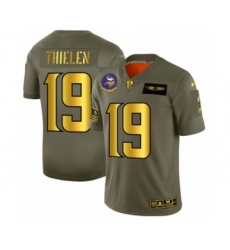 Men's Minnesota Vikings #19 Adam Thielen Limited Olive Gold 2019 Salute to Service Football Jersey