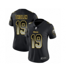 Women's Minnesota Vikings #19 Adam Thielen Limited Black Smoke Fashion Football Jersey