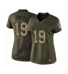 Women's Minnesota Vikings #19 Adam Thielen Limited Green Salute to Service Football Jersey