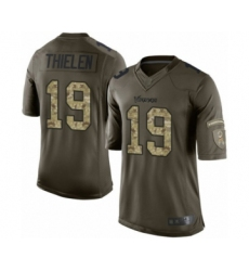 Youth Minnesota Vikings #19 Adam Thielen Limited Green Salute to Service Football Jersey