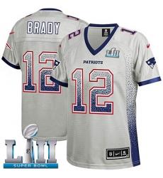 Women's Nike New England Patriots #12 Tom Brady Elite Grey Drift Fashion Super Bowl LII NFL Jersey
