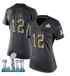 Women's Nike New England Patriots #12 Tom Brady Limited Black 2016 Salute to Service Super Bowl LII NFL Jersey