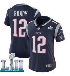 Women's Nike New England Patriots #12 Tom Brady Navy Blue Team Color Vapor Untouchable Limited Player Super Bowl LII NFL Jersey