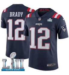 Youth Nike New England Patriots #12 Tom Brady Limited Navy Blue Rush Vapor Untouchable Super Bowl LII NFL Jersey