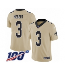 Youth New Orleans Saints #3 Bobby Hebert Limited Gold Inverted Legend 100th Season Football Jersey