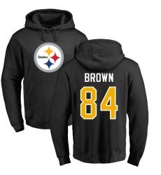 NFL Nike Pittsburgh Steelers #84 Antonio Brown Black Name & Number Logo Pullover Hoodie