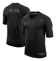 Men's Seattle Seahawks #3 Russell Wilson Black Nike 2020 Salute To Service Limited Jersey