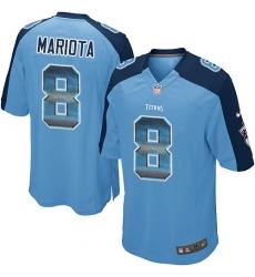 Men's Nike Tennessee Titans #8 Marcus Mariota Limited Light Blue Strobe NFL Jersey