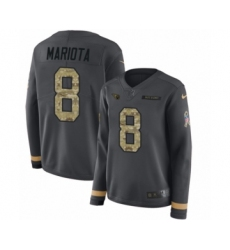 Women's Nike Tennessee Titans #8 Marcus Mariota Limited Black Salute to Service Therma Long Sleeve NFL Jersey