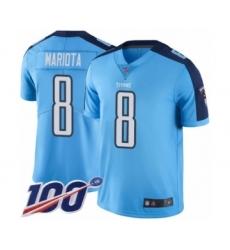 Youth Tennessee Titans #8 Marcus Mariota Limited Light Blue Rush Vapor Untouchable 100th Season Football Jersey