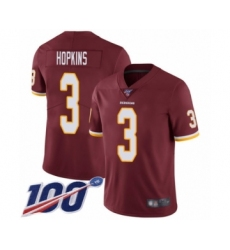 Youth Washington Redskins #3 Dustin Hopkins Burgundy Red Team Color Vapor Untouchable Limited Player 100th Season Football Jersey