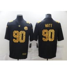 Men's Pittsburgh Steelers #90 T. J. Watt Black Nike Leopard Print Limited Jersey