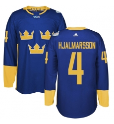 Men's Adidas Team Sweden #4 Niklas Hjalmarsson Authentic Royal Blue Away 2016 World Cup of Hockey Jersey