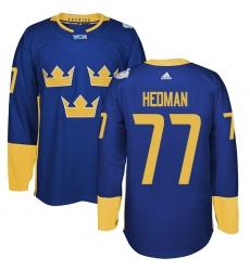 Men's Adidas Team Sweden #77 Victor Hedman Premier Royal Blue Away 2016 World Cup of Hockey Jersey