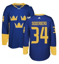 Men's Adidas Team Sweden #34 Carl Soderberg Authentic Royal Blue Away 2016 World Cup of Hockey Jersey