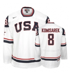 Men's Nike Team USA #8 Mike Komisarek Authentic White 2010 Olympic Hockey Jersey