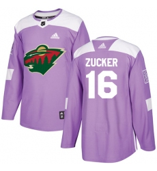 Youth Adidas Minnesota Wild #16 Jason Zucker Authentic Purple Fights Cancer Practice NHL Jersey
