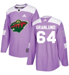 Men's Adidas Minnesota Wild #64 Mikael Granlund Authentic Purple Fights Cancer Practice NHL Jersey