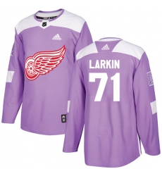 Men's Adidas Detroit Red Wings #71 Dylan Larkin Authentic Purple Fights Cancer Practice NHL Jersey