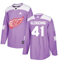 Youth Adidas Detroit Red Wings #41 Luke Glendening Authentic Purple Fights Cancer Practice NHL Jersey