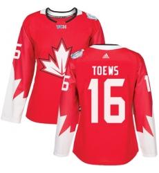 Women's Adidas Team Canada #16 Jonathan Toews Premier Red Away 2016 World Cup Hockey Jersey