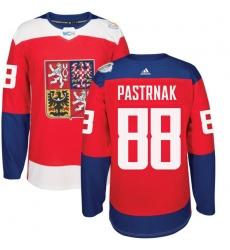 Men's Adidas Team Czech Republic #88 David Pastrnak Premier Red Away 2016 World Cup of Hockey Jersey