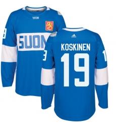 Men's Adidas Team Finland #19 Mikko Koskinen Authentic Blue Away 2016 World Cup of Hockey Jersey