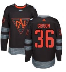 Men's Adidas Team North America #36 John Gibson Authentic Black Away 2016 World Cup of Hockey Jersey