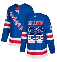Men's Adidas New York Rangers #26 Martin St. Louis Authentic Royal Blue USA Flag Fashion NHL Jersey