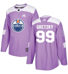 Youth Adidas Edmonton Oilers #99 Wayne Gretzky Authentic Purple Fights Cancer Practice NHL Jersey