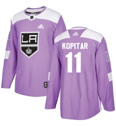 Men's Adidas Los Angeles Kings #11 Anze Kopitar Authentic Purple Fights Cancer Practice NHL Jersey