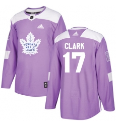 Youth Adidas Toronto Maple Leafs #17 Wendel Clark Authentic Purple Fights Cancer Practice NHL Jersey