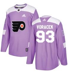 Youth Adidas Philadelphia Flyers #93 Jakub Voracek Authentic Purple Fights Cancer Practice NHL Jersey