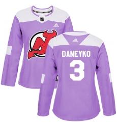 Women's Adidas New Jersey Devils #3 Ken Daneyko Authentic Purple Fights Cancer Practice NHL Jersey