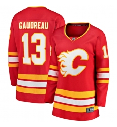 Women's Calgary Flames #13 Johnny Gaudreau Fanatics Branded Red 2020-21 Home Premier Breakaway Player Jersey