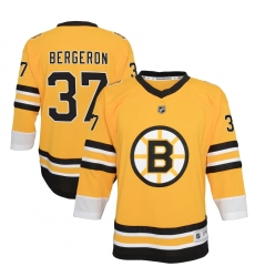 Youth Boston Bruins #37 Patrice Bergeron Yellow 2020-21 Special Edition Replica Player Jersey