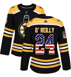 Women's Adidas Boston Bruins #24 Terry O'Reilly Authentic Black USA Flag Fashion NHL Jersey