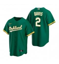 Men's Nike Oakland Athletics #2 Khris Davis Green Alternate Stitched Baseball Jersey