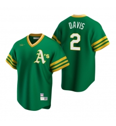 Men's Nike Oakland Athletics #2 Khris Davis Kelly Green Cooperstown Collection Road Stitched Baseball Jersey