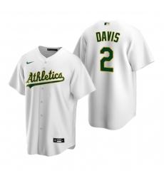 Men's Nike Oakland Athletics #2 Khris Davis White Home Stitched Baseball Jersey