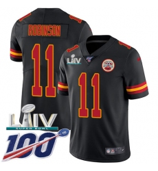 Youth Kansas City Chiefs #11 Demarcus Robinson Black Super Bowl LIV 2020 Stitched Limited Rush Jersey