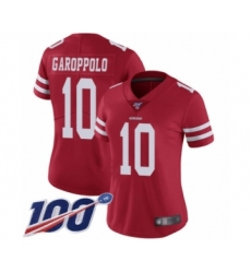 Women's San Francisco 49ers #10 Jimmy Garoppolo Red Team Color Vapor Untouchable Limited Player 100th Season Football Jersey