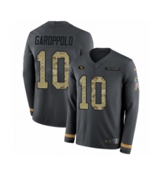 Youth Nike San Francisco 49ers #10 Jimmy Garoppolo Limited Black Salute to Service Therma Long Sleeve NFL Jersey