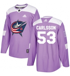 Youth Adidas Columbus Blue Jackets #53 Gabriel Carlsson Authentic Purple Fights Cancer Practice NHL Jersey