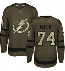Men's Adidas Tampa Bay Lightning #74 Dominik Masin Authentic Green Salute to Service NHL Jersey