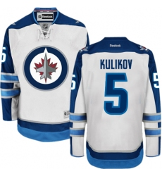 Youth Reebok Winnipeg Jets #5 Dmitry Kulikov Authentic White Away NHL Jersey