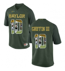 Baylor Bears #10 Robert Griffin III Green With Portrait Print College Football Jersey3