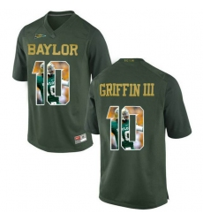 Baylor Bears #10 Robert Griffin III Green With Portrait Print College Football Jersey