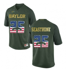 Baylor Bears #25 Lache Seastrunk Green USA Flag College Football Jersey